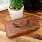 Personalized wooden ring box from the Edmonton Wedding & Party Centre