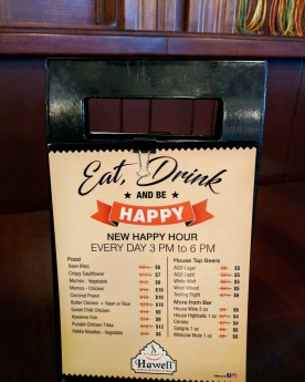Haweli South Common's current Happy Hour specials.