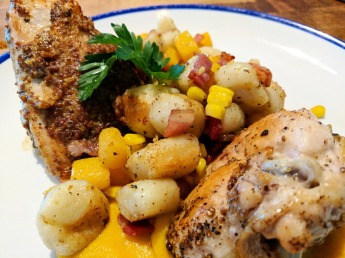 Roasted Squash and Gnocchi with Corn & Bacon