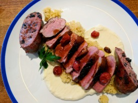 A gorgeously presented dish of duck two ways.