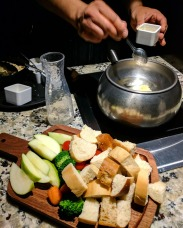 Our fondue being started.