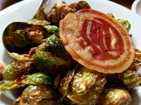 Crispy pancetta with Brussels sprouts