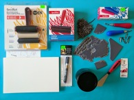 The full array of printmaking supplies.